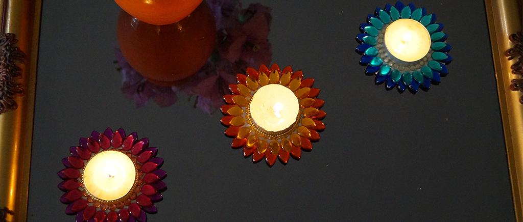 Diwali Tealights on Glass Coffee Table