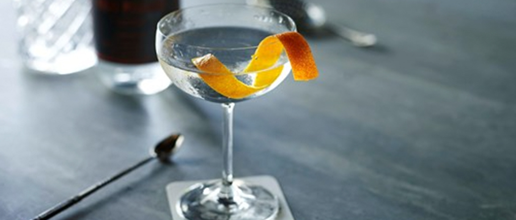 Gin Martini with Orange Slice