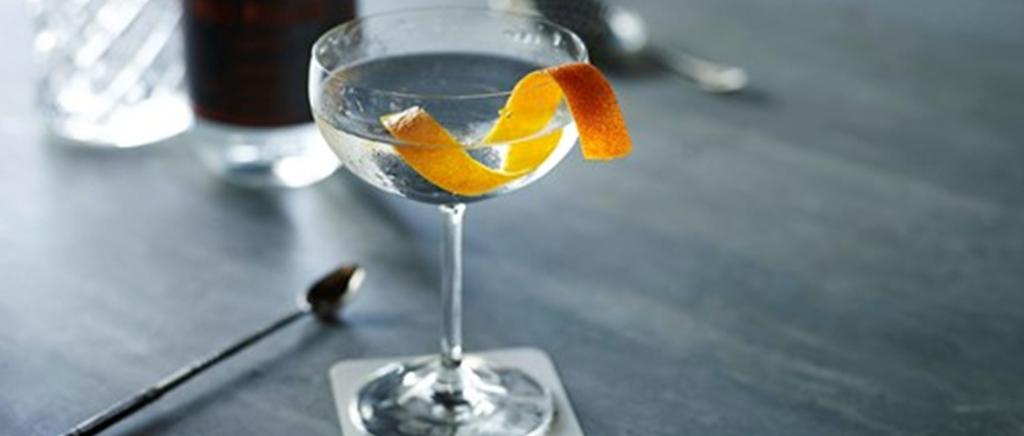 Gin Martini with Orange Slice