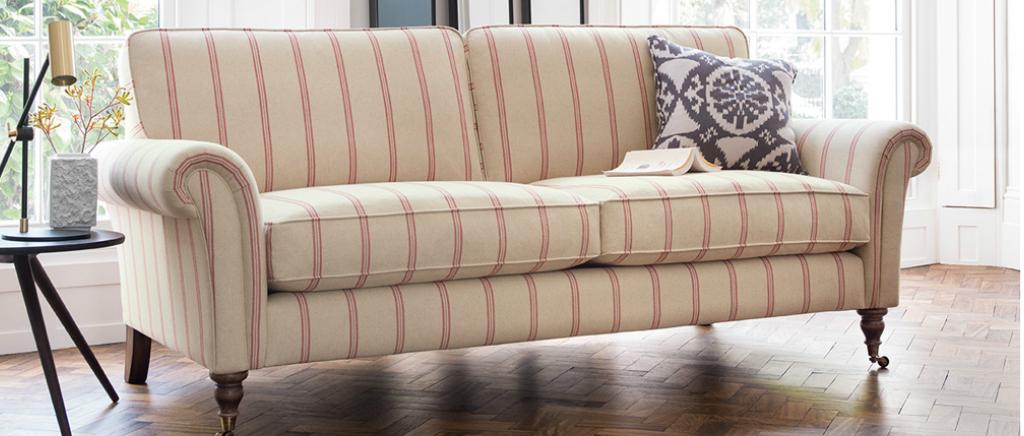 Helena Sofa in Jenson Stripe - Cardinal fabric