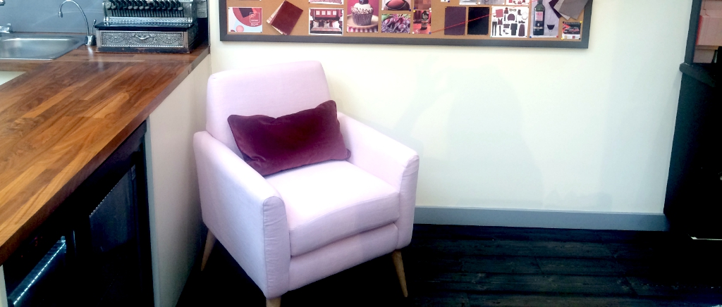 Juno Chair Upholstered in Pink Fabric
