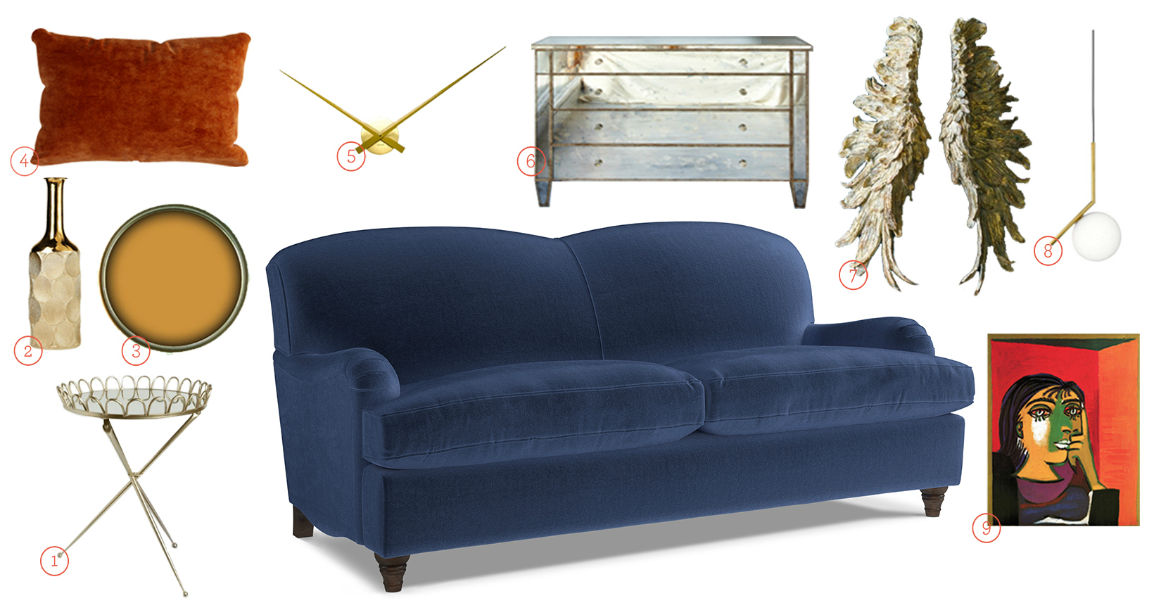 Knightley Sofa Upholstered in Navy Fabric