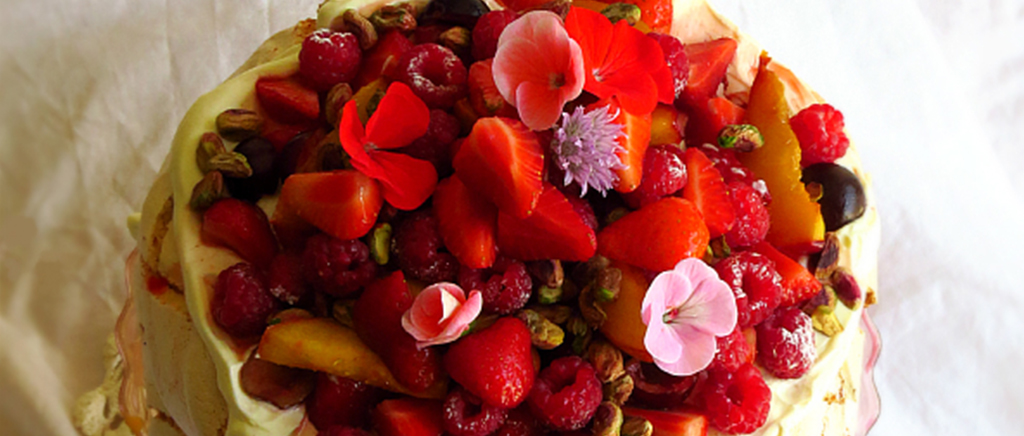 Summer Fruits Pavolova with Flowers