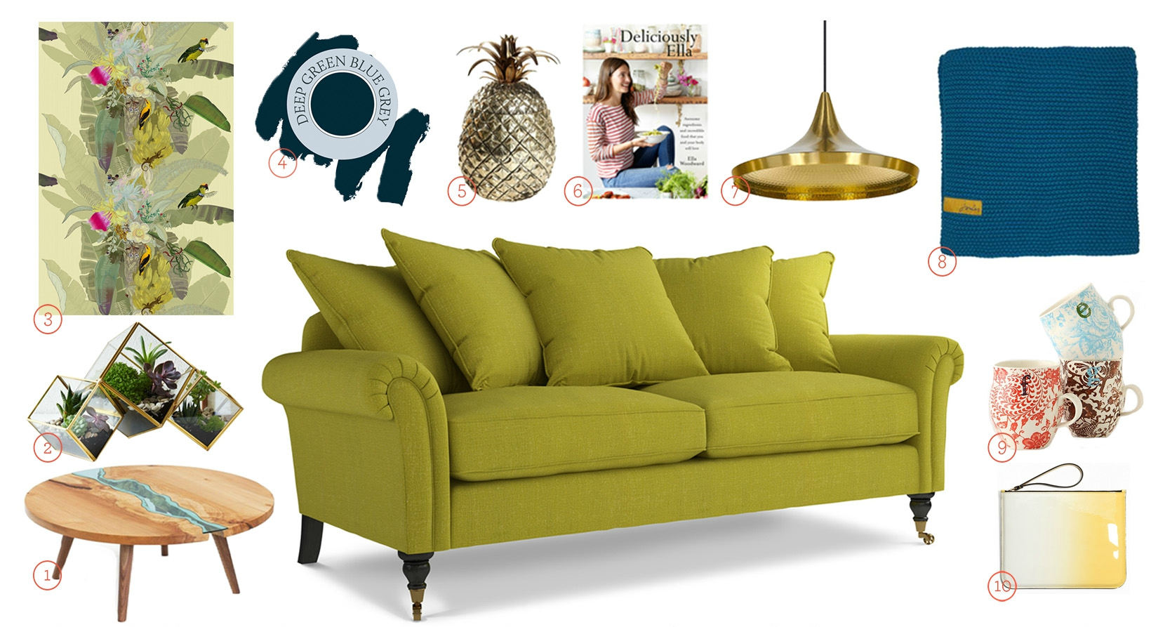 Get The Look - Helena Scatterback Sofa Upholstered in Stirling Lime