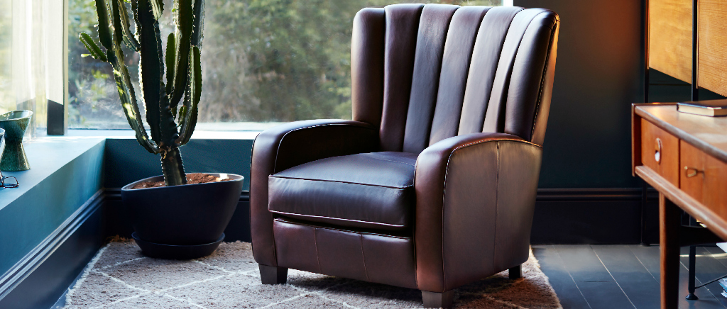 Wallis Armchair Upholstered in Brown Leather