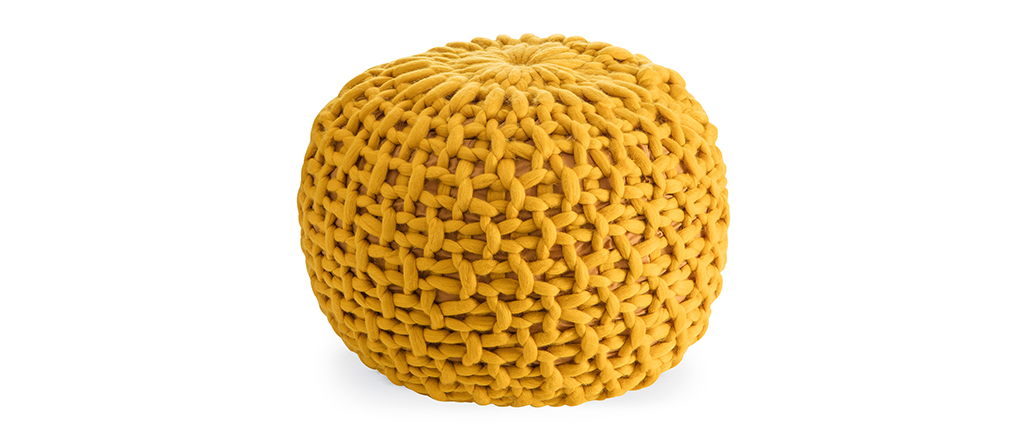 Mustard Knitted Pouffe