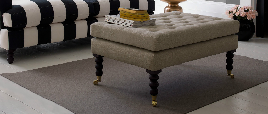 Huntingdon Footstool in Cotton Fabric
