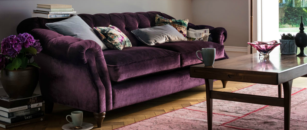 Chesterfield Sofa Upholstered in Purple Italian Velvet Fabric