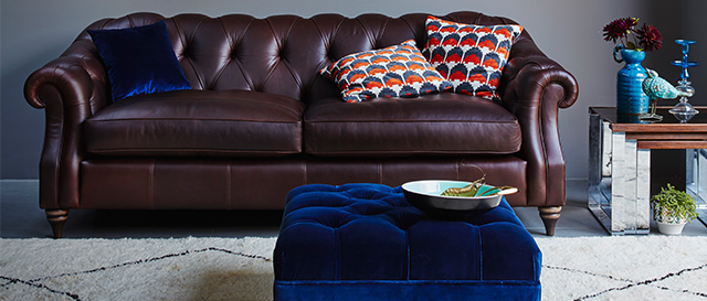 Medium leather Darcy sofa