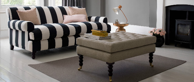 Black and white striped Cartwright sofa