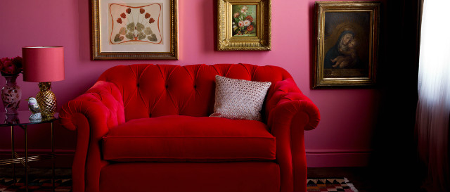 Darcy snuggler in red velvet