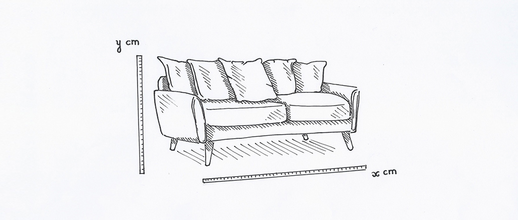Sketch of Sofa Measuring Height & Length