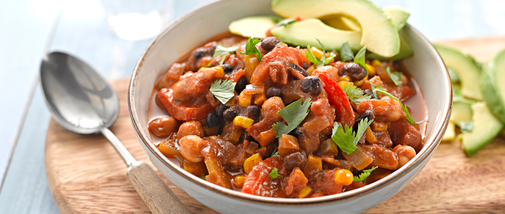 Mixed Bean Stew with Sliced Avocado
