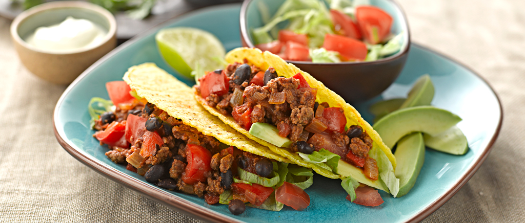 Black Bean and Quorn Mince Chilli in Taco Shells