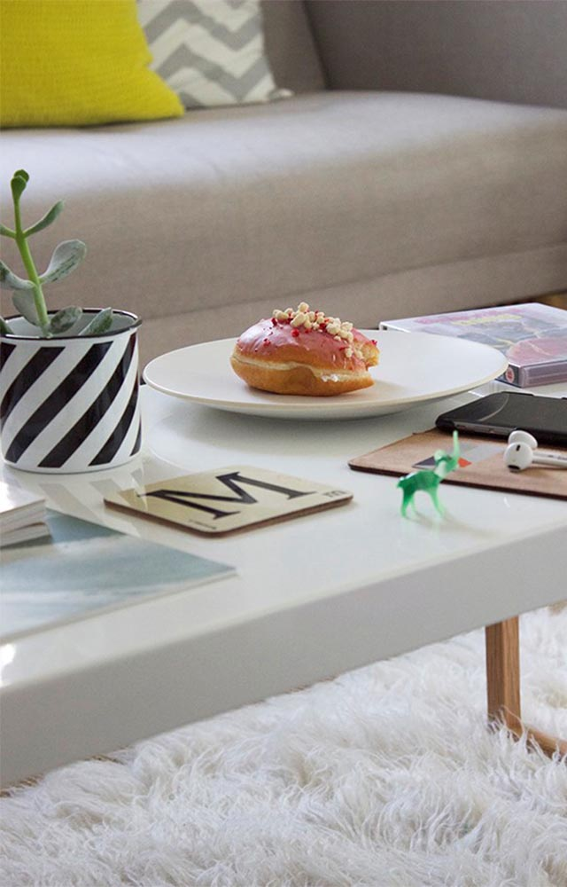 Krispy Crème donuts on Coffee Table