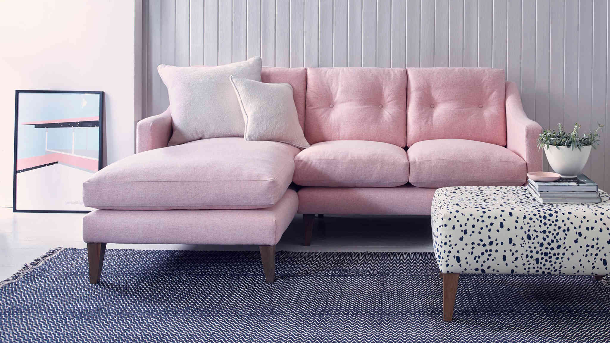 Ferdinand pink chaise sofa